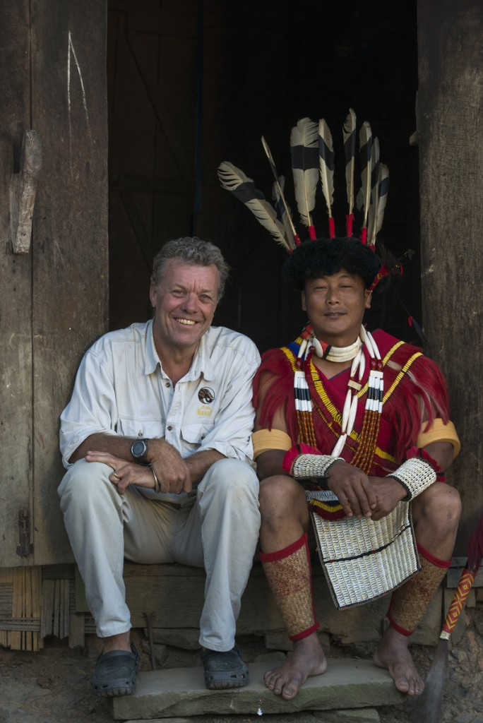 Pete Oxford with Naga head hunters Nagaland,  ne India