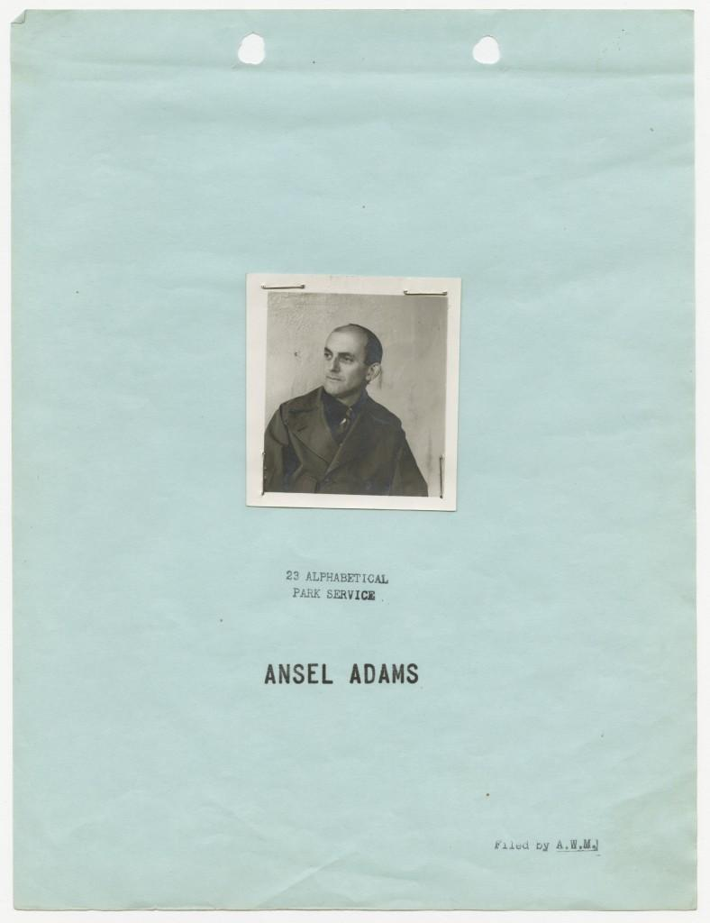 RG 146 Records of the U.S. Civil Service Commission Personnel Folder of Ansel Adams