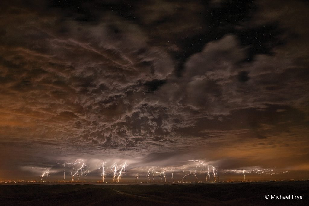 Figure 8: Lightning over California's San Joaquin Valley from the Sierra foothills—the final image. Photo by Michael Frye.