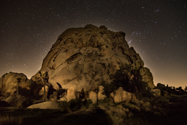 The most challenging shot of the night for me, I attempted to paint this rock formation with light from my LED flashlight, but even from a considerable distance, the light was too bright and washed out the rock. I got lucky when a car drove by briefly and illuminated the rock more subtly. Photo by Wes Pitts..