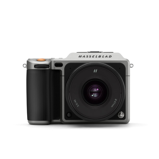 Front view of Hasselblad's X1D mirrorless medium format camera.