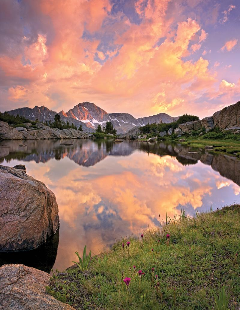 Alpenglow in the Sierra Nevada Mountains, California