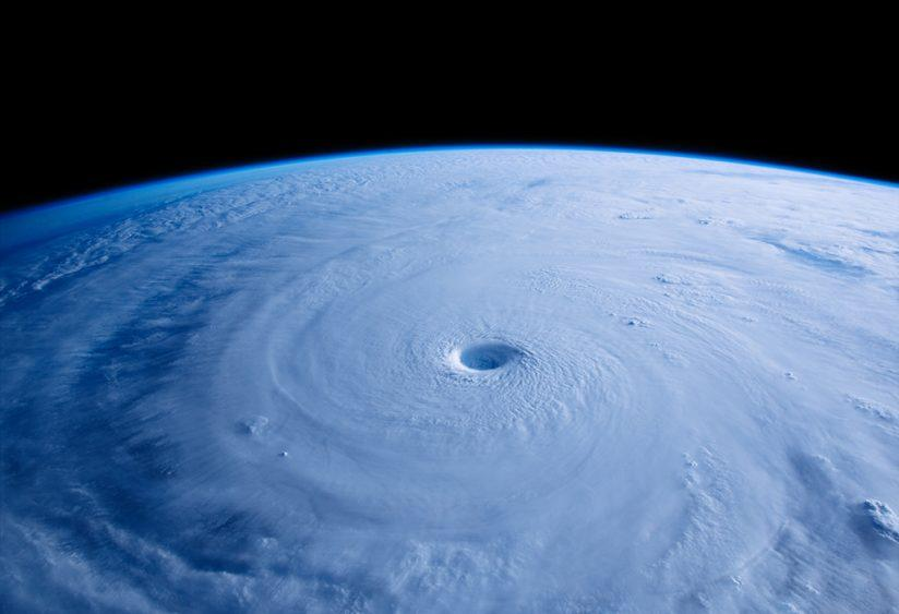 "A scene from the IMAX® film ""A Beautiful Planet"". The 25-mile wide eye of Typhoon Maysak as seen from the International Space Station (ISS). © 2016 IMAX Corporation. Photo courtesy of NASA."