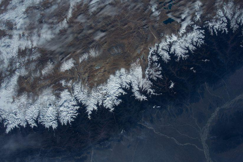"A scene from the IMAX® film ""A Beautiful Planet"". A spectacular view of the Himalayas from the International Space Station. © 2016 IMAX Corporation. Photo courtesy of NASA."