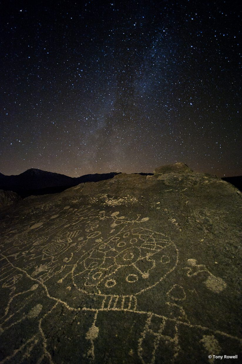 Milky Way over Native American Petroglyphs