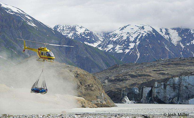 One of the reasons the Upper Alsek sees so few visitors each year is the logistics of the helicopter portage past Turnback Canyon.
