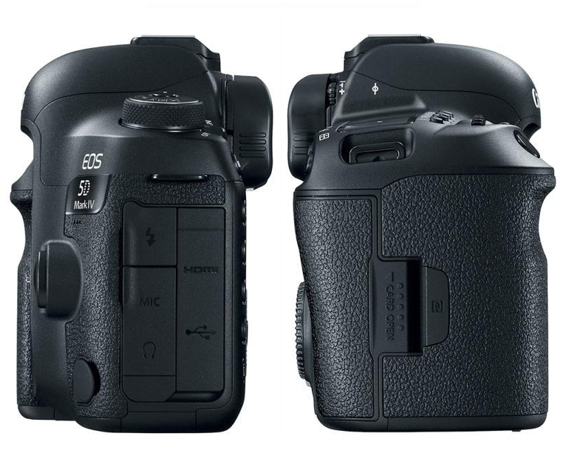 (Left) The 5D Mark IV offers HDMI Type C out and terminals for external microphones and headsets. (Right) Recording media is Compact Flash and SD, which may disappoint some who were expecting the newer CFast format for 4K video work.