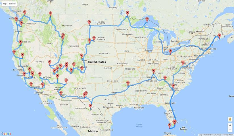 Optimal U.S. National Parks Centennial Road Trip map
