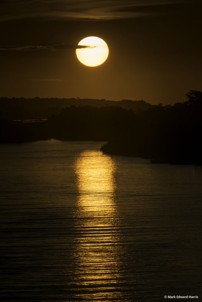 A sunset over the Paraguai (Paraguay) River in Brazil's Pantanal.