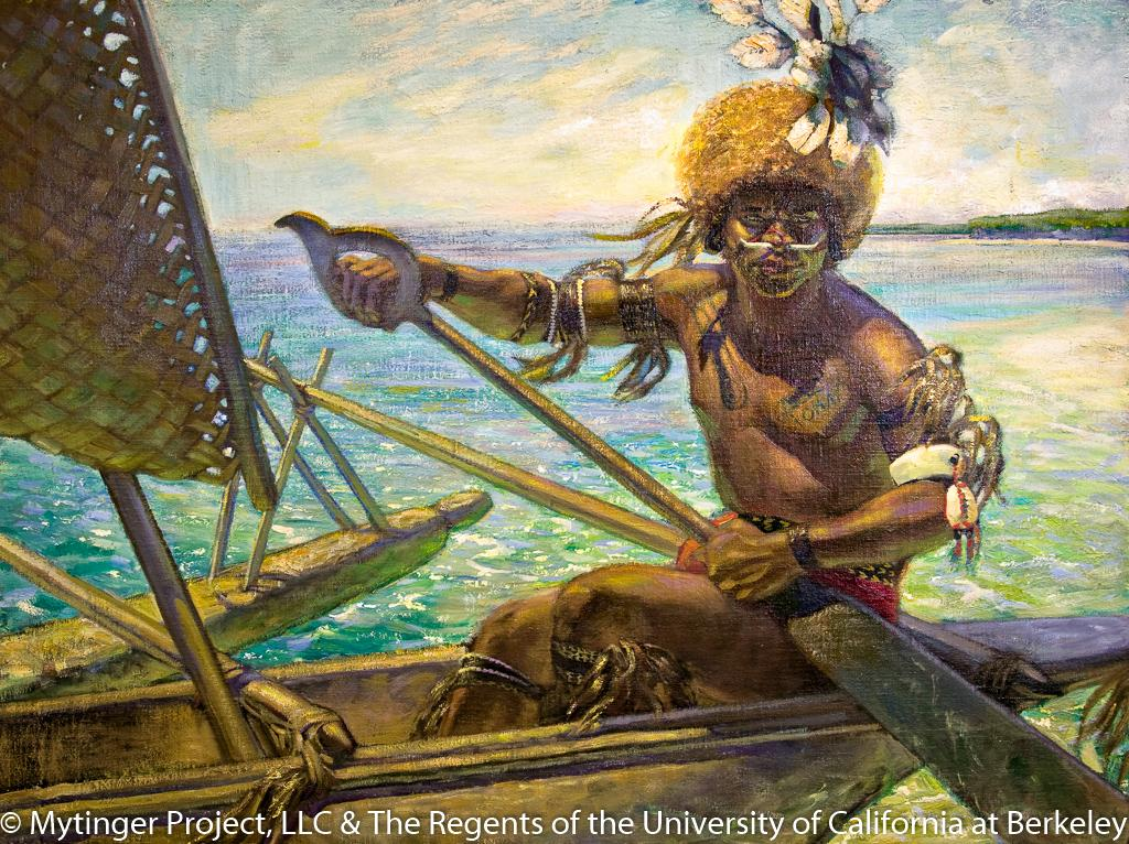 Melanesian man in outrigger canoe. New Guinea Eastern Division of Papua Phoebe Hearst Museum of Anthropology Accession 3220 Cat #17-595 Painting by Caroline Mytinger circa 1928