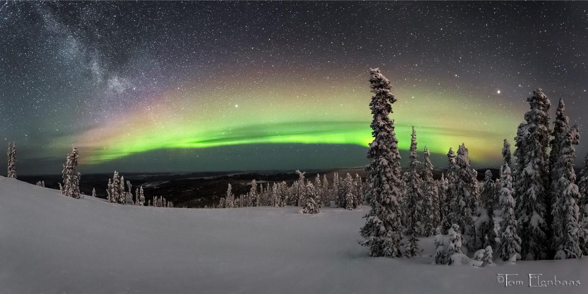 Today's Photo Of The Day is Aurora Panorama by Tom Elenbaas. Location: Near Fairbanks, Alaska.