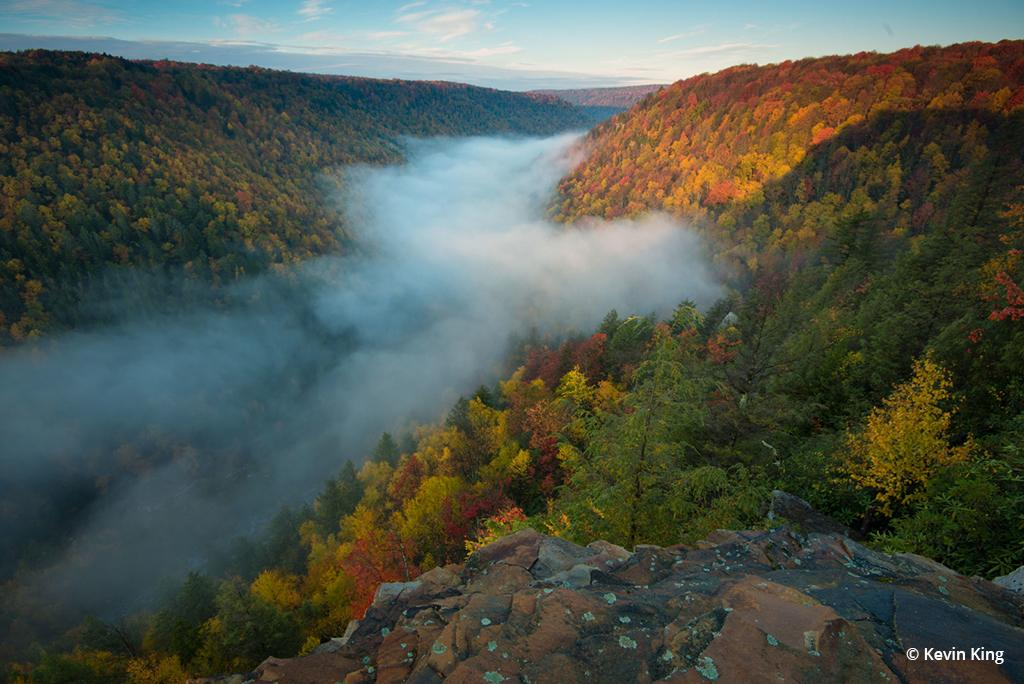 """Today's Photo Of The Day is """"Foggy River Breakdown"""" by Kevin King. Location: Blackwater Falls State Park, West Virginia."""