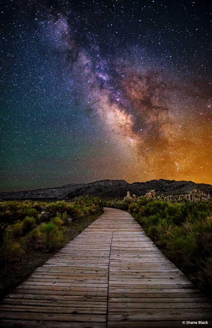 night lapse lake star mono photographer outdoor walkway struck california