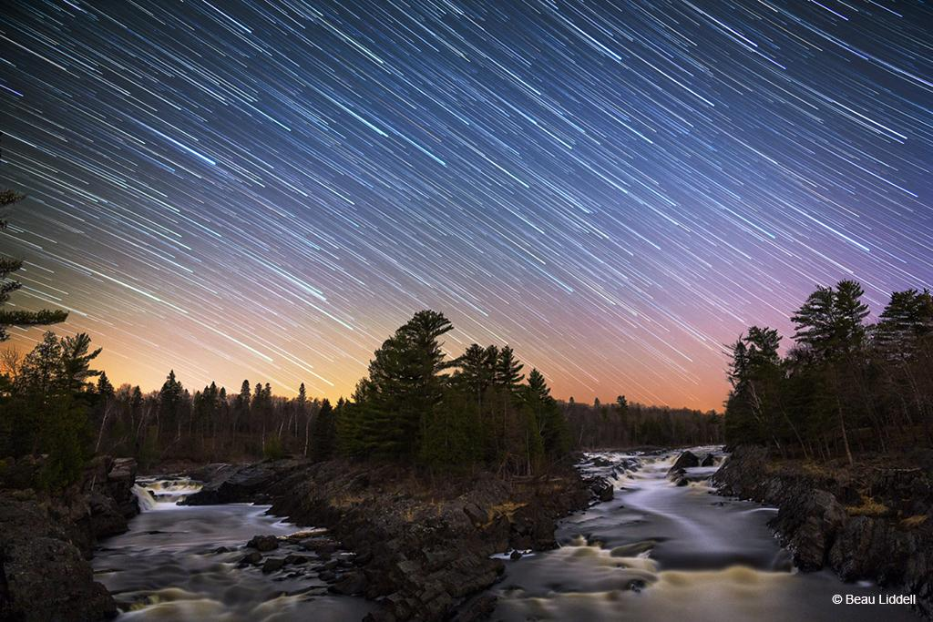"Today's Photo Of The Day is ""Jay Cooke Star Trails"" by Beau Liddell. Location: Jay Cooke State Park, Minnesota."