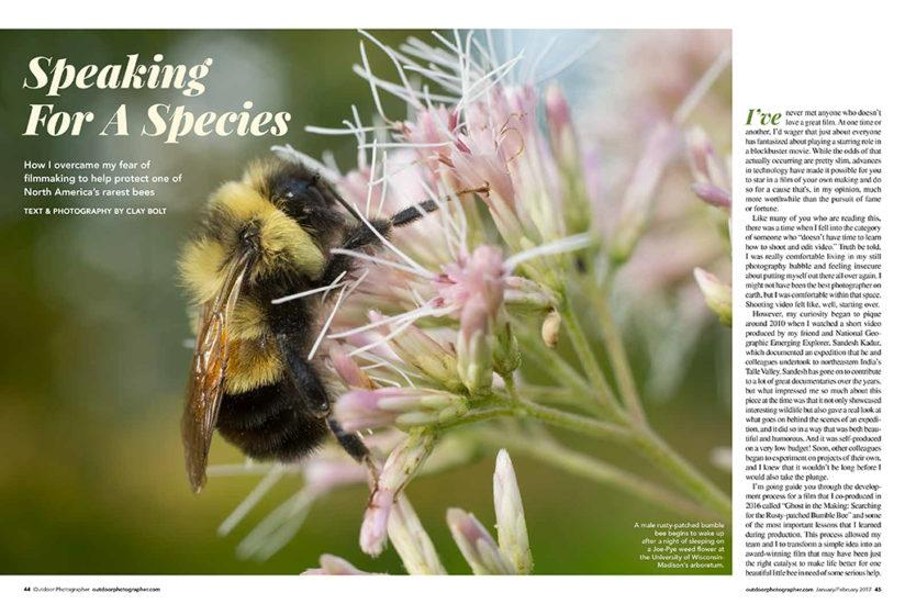 "Clay Bolt's ""Speaking For A Species"" in the February 2017 issue of Outdoor Photographer goes behind the scenes in the making of Bolt's documentary film, "" A Ghost In The Making"" which advocated for the protection of the rusty patched bumblebee."