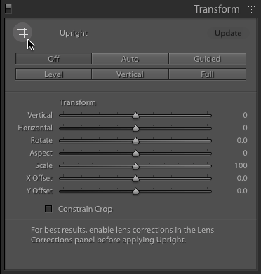 The Upright Tool can be found in the Transform Panel (available in Lightroom CC). Click to activate or use quick keys: Shift, T.