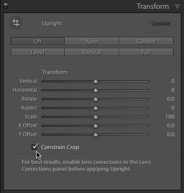 FIGURE 7. Checking the Constrain Crop box allows Lightroom to automatically crop into your image when edges of the underlying canvas is exposed.