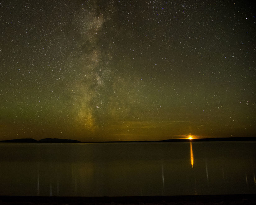 Moonset over Yellowstone Lake