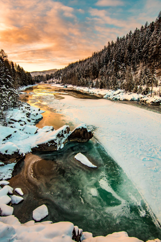 Winter Sunset on the North Fork of the Flathead River
