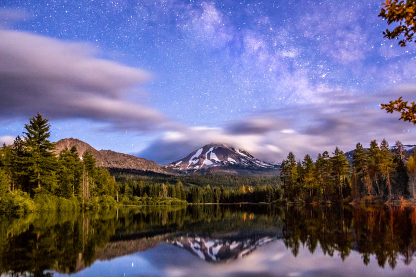 Milky Way and Night Clouds Over Mount Lassen, Manzanita Lake