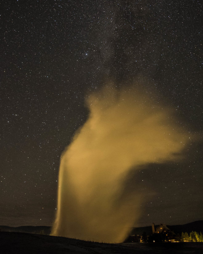 Old Faithful in the middle of the night